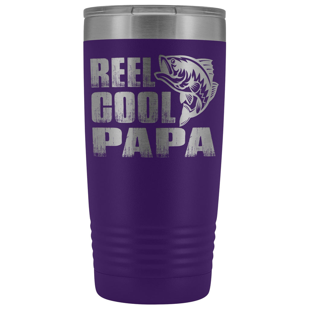 Reel Cool Papa Fishing Papa 20oz Tumbler design 2 purple