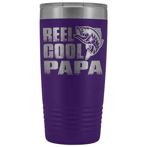 Image of Reel Cool Papa Fishing Papa 20oz Tumbler design 2 purple