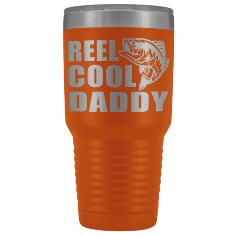 Image of Reel Cool Daddy 30oz.Tumblers Daddy Travel Coffee Mug orange