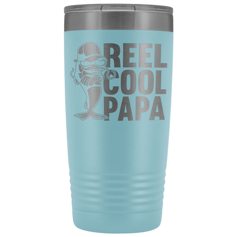 Reel Cool Papa Fishing Papa 20oz Tumbler light blue