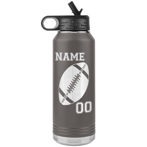 32oz. Water Bottle Tumblers Personalized Football Water Bottles pewter
