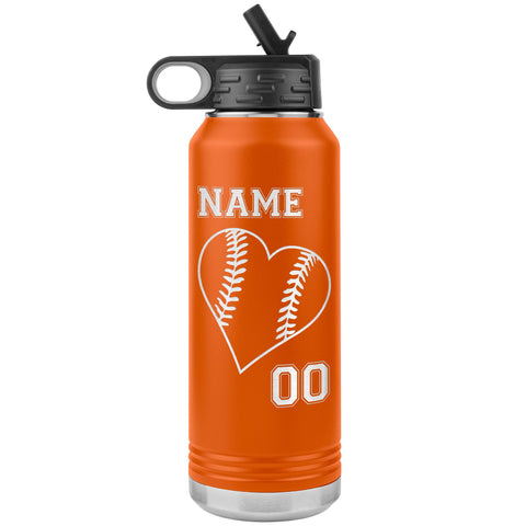 32oz Tumbler Softball Water Bottle Or Baseball Water Bottle orange