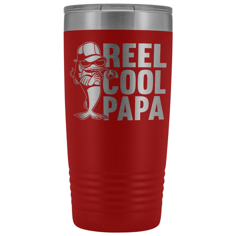 Image of Reel Cool Papa Fishing Papa 20oz Tumbler red
