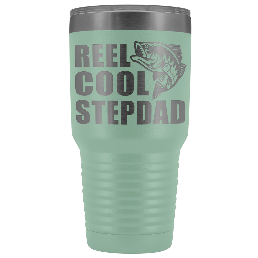 Reel Cool Stepdad 30oz. Tumblers Step Dad Travel Mug teal