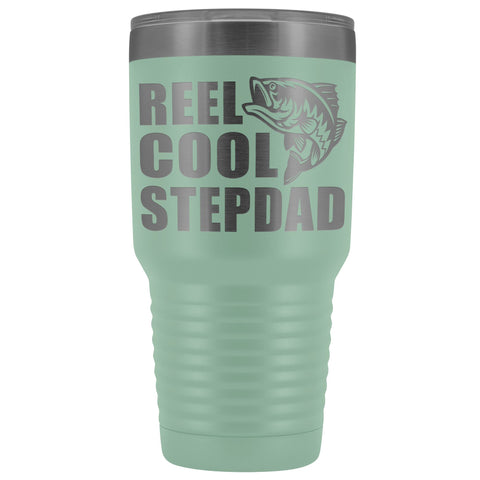 Image of Reel Cool Stepdad 30oz. Tumblers Step Dad Travel Mug teal