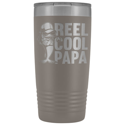 Image of Reel Cool Papa Fishing Papa 20oz Tumbler pewter