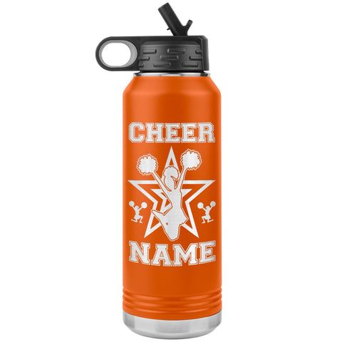 Image of 32oz Cheerleading Water Bottle Tumbler, Cheer Gifts orange