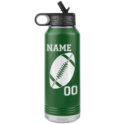 32oz. Water Bottle Tumblers Personalized Football Water Bottles green