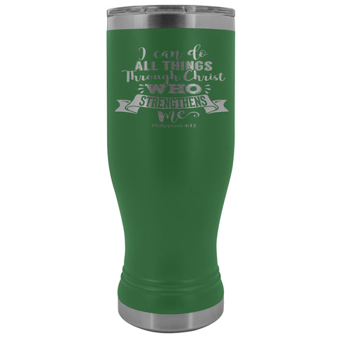 Image of I Can Do All Things Through Christ 20oz. BOHO Tumbler Christian Travel Coffee Mugs green