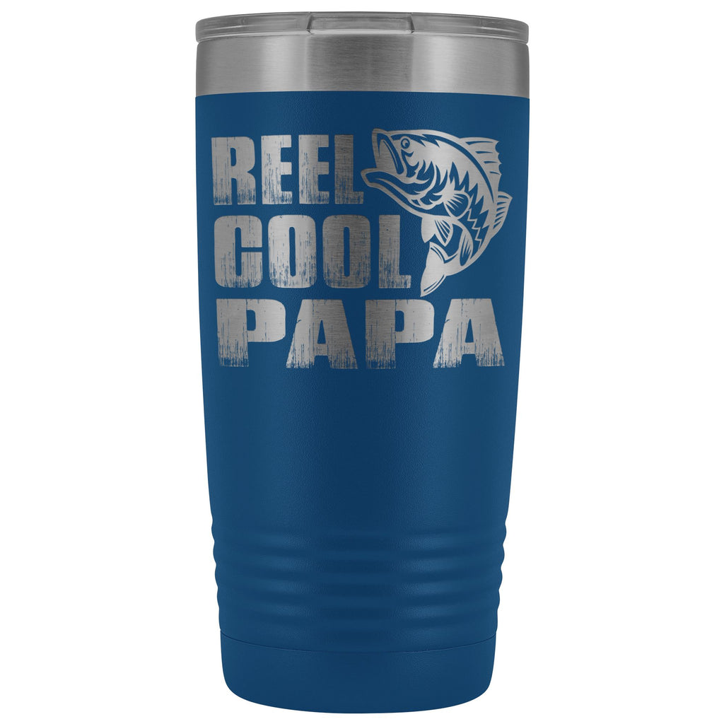Reel Cool Papa Fishing Papa 20oz Tumbler design 2 blue