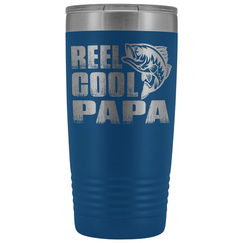 Image of Reel Cool Papa Fishing Papa 20oz Tumbler design 2 blue