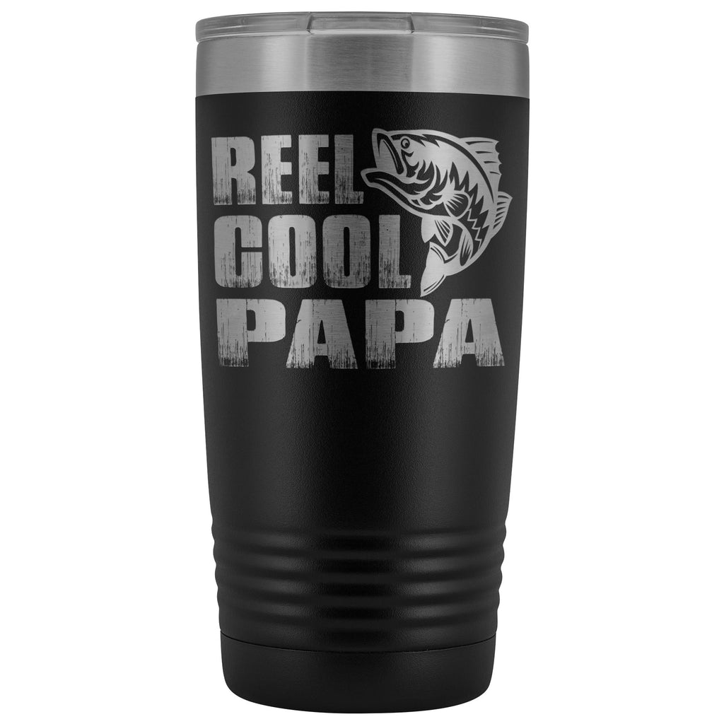 Reel Cool Papa Fishing Papa 20oz Tumbler design 2 black