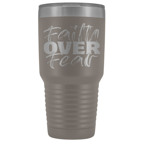 Image of Faith Over Fear Christian Tumblers pewter