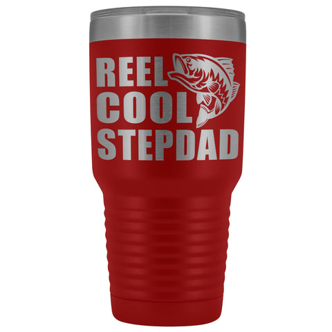 Image of Reel Cool Stepdad 30oz. Tumblers Step Dad Travel Mug red