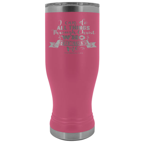 I Can Do All Things Through Christ 20oz. BOHO Tumbler Christian Travel Coffee Mugs pink