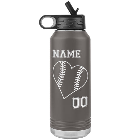 32oz Tumbler Softball Water Bottle Or Baseball Water Bottle pewter