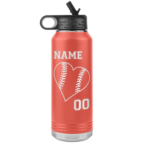 32oz Tumbler Softball Water Bottle Or Baseball Water Bottle coral