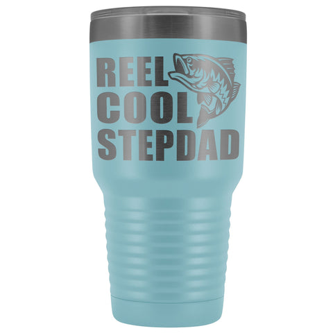 Image of Reel Cool Stepdad 30oz. Tumblers Step Dad Travel Mug light blue