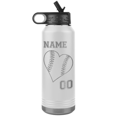 32oz Tumbler Softball Water Bottle Or Baseball Water Bottle white