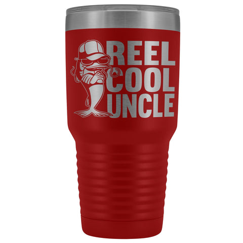 Image of Reel Cool Uncle 30oz. Tumblers Uncle Travel Mug red