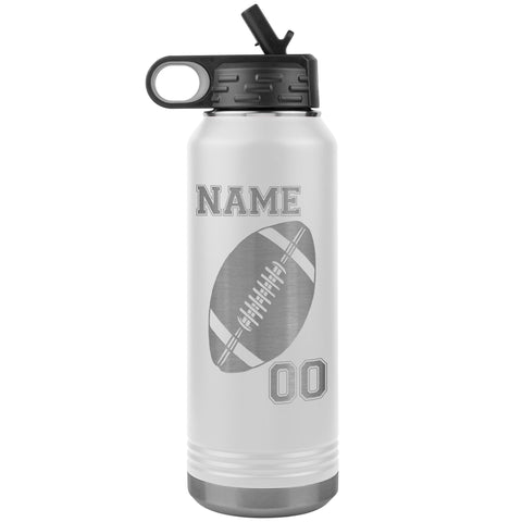 32oz. Water Bottle Tumblers Personalized Football Water Bottles white