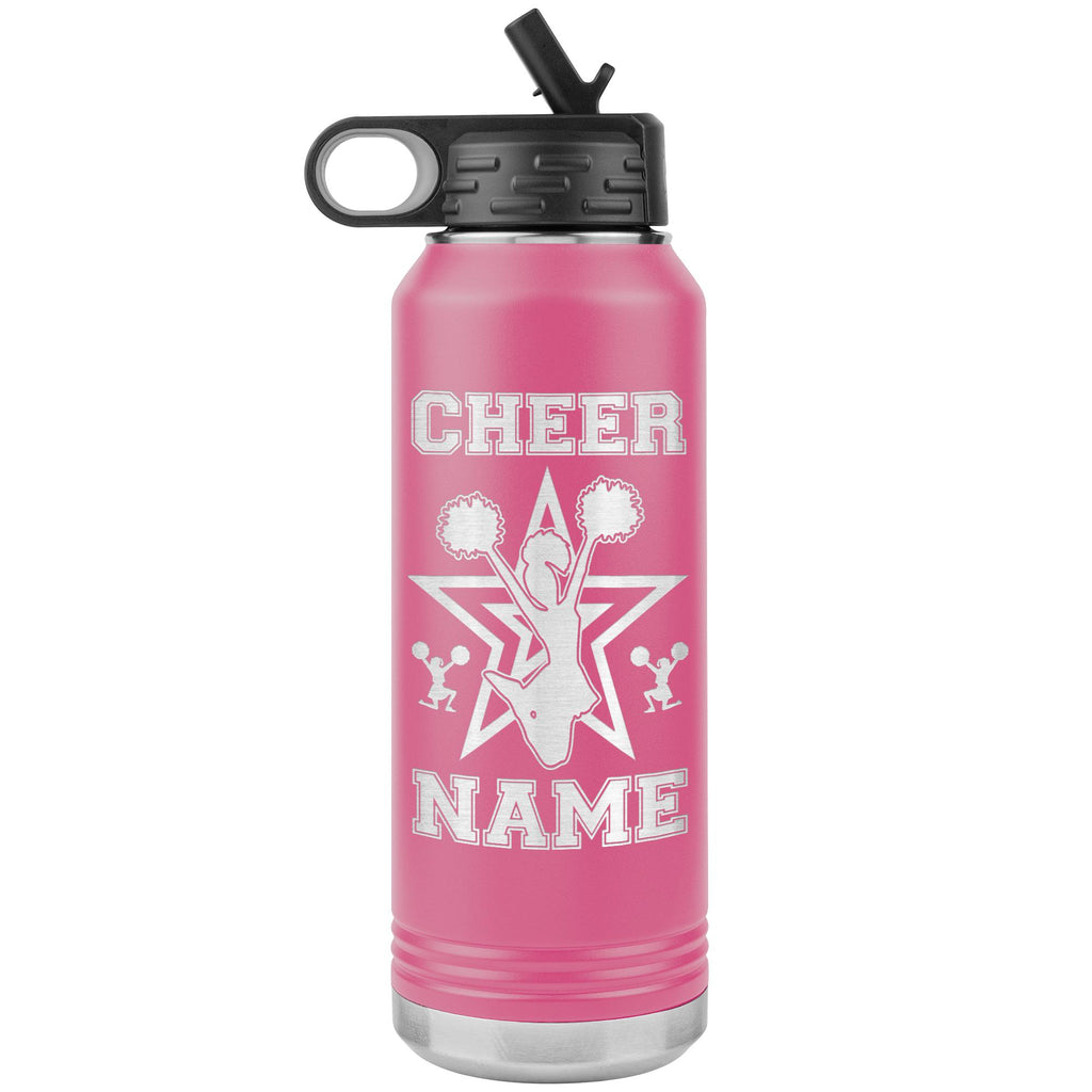 32oz Cheerleading Water Bottle Tumbler, Cheer Gifts pink
