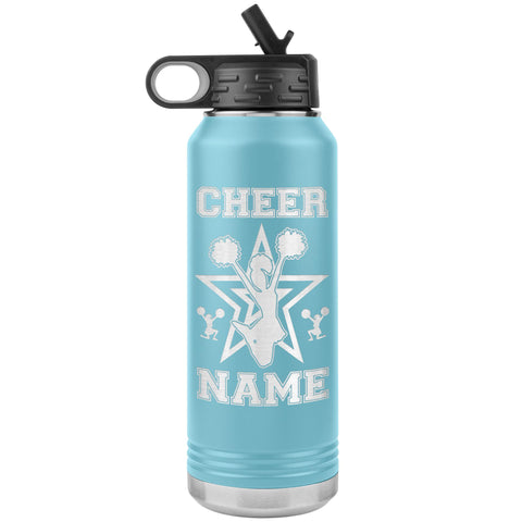 Image of 32oz Cheerleading Water Bottle Tumbler, Cheer Gifts light  blue
