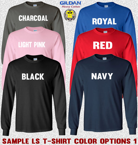 Image of Gildan Long Sleeve T-Shirt Color Options 1