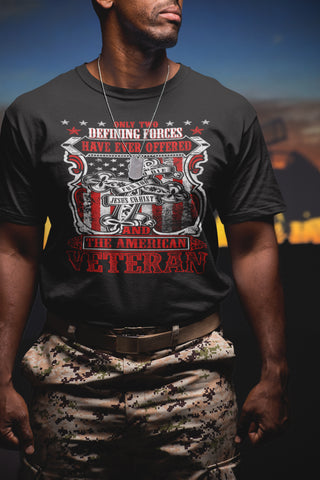Image of Jesus Christ And The American Veteran T Shirt mock up