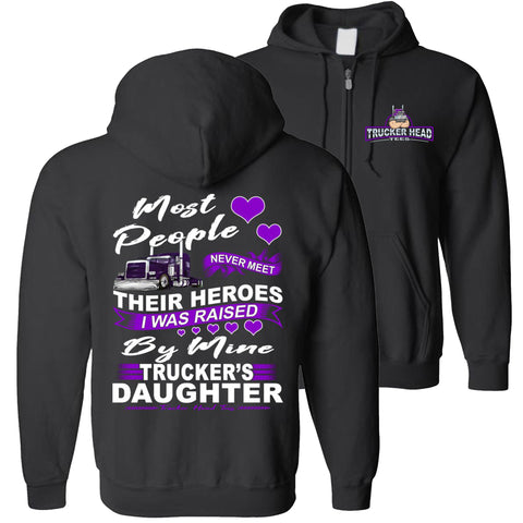Image of My Hero Truckers Daughter Hoodies zip hoodie