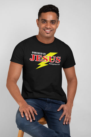 Image of Powered By Jesus Christian T Shirt mock up