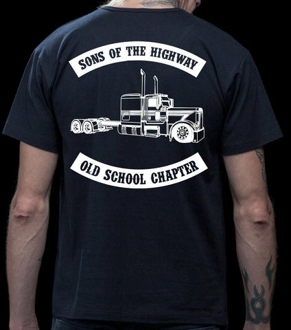 Image of Sons Of The Highway Old School Chapter Old School Trucker Shirts mock up