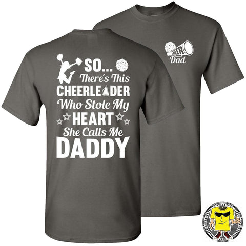 Image of So There's This Cheerleader Who Stole My Heart Daddy Cheer Dad Shirts charcoal