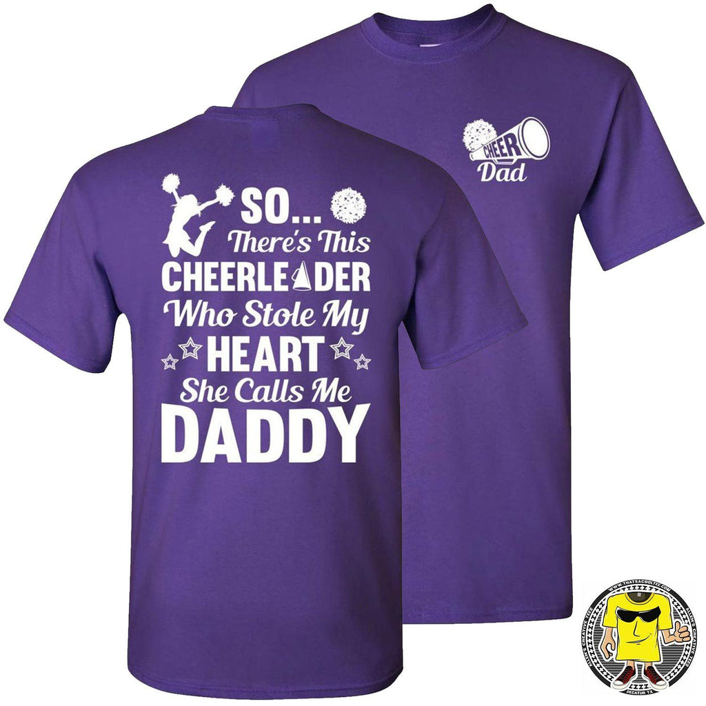 So There's This Cheerleader Who Stole My Heart Daddy Cheer Dad Shirts purple