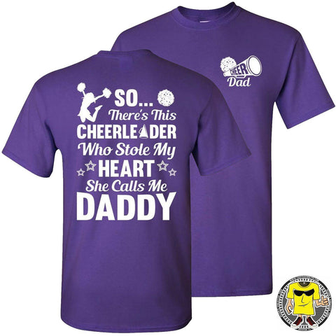 Image of So There's This Cheerleader Who Stole My Heart Daddy Cheer Dad Shirts purple