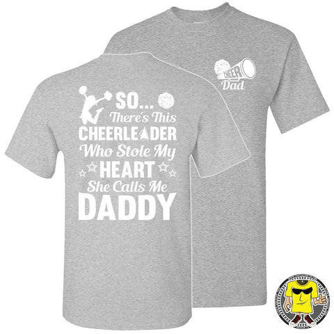 Image of So There's This Cheerleader Who Stole My Heart Daddy Cheer Dad Shirts sports gray