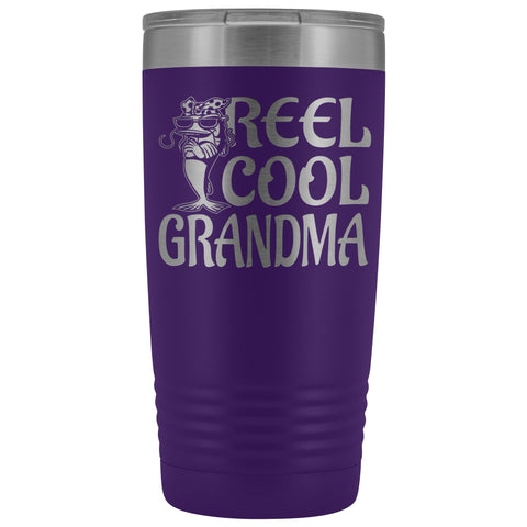 Image of Reel Cool Grandma Fishing 20oz Tumbler purple