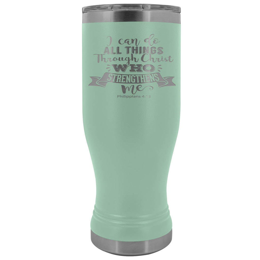 I Can Do All Things Through Christ 20oz. BOHO Tumbler Christian Travel Coffee Mugs teal