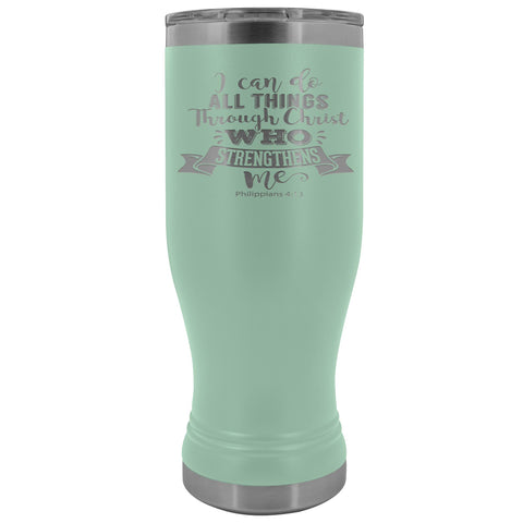 Image of I Can Do All Things Through Christ 20oz. BOHO Tumbler Christian Travel Coffee Mugs teal