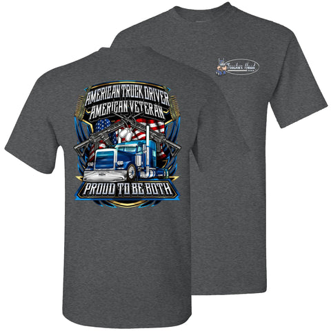 Image of American Truck Driver American Veteran Trucker T-Shirt Back Print dark heather