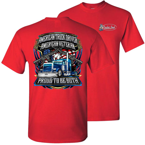 Image of American Truck Driver American Veteran Trucker T-Shirt Back Print red