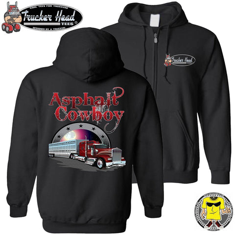 Asphalt Cowboy Bull Hauler Trucker Hoodie black zip up