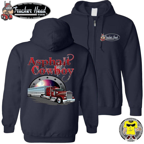 Image of Asphalt Cowboy Bull Hauler Trucker Hoodie zip up navy