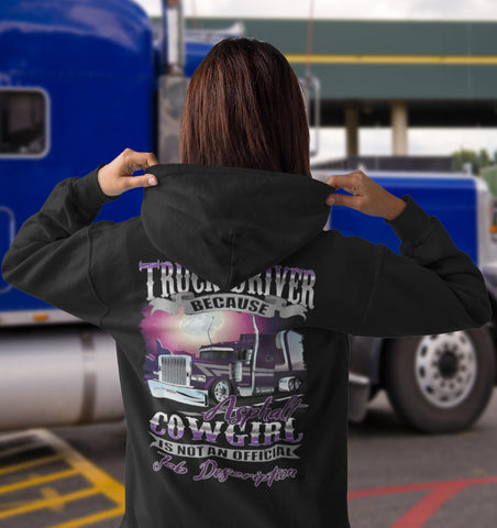 Asphalt Cowgirl Lady Truck Driver Hoodie mock up