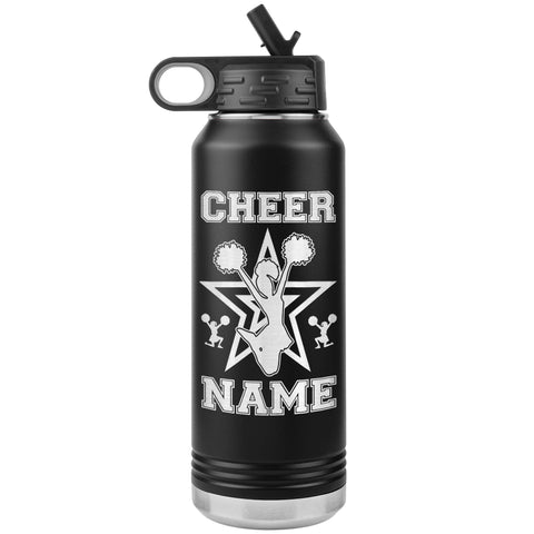 Image of 32oz Cheerleading Water Bottle Tumbler, Cheer Gifts black