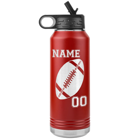 32oz. Water Bottle Tumblers Personalized Football Water Bottles red