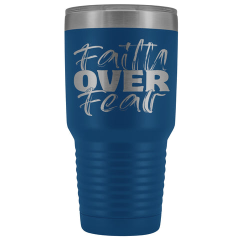Image of Faith Over Fear Christian Tumblers purple