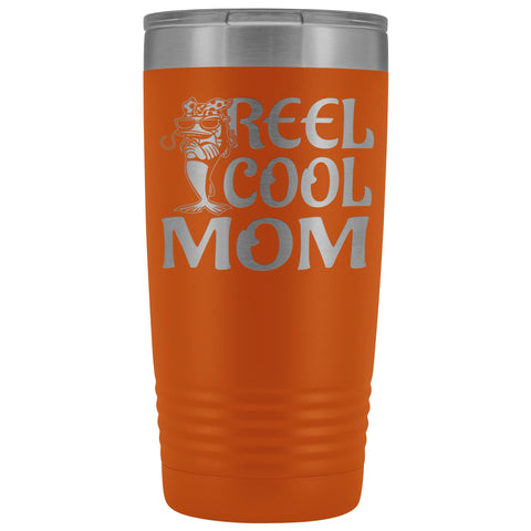 Image of Reel Cool Mom Fishing 20oz Tumbler Fishing Mom Gifts orange