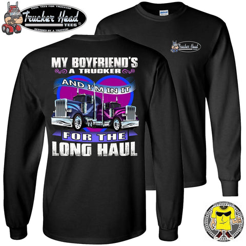 Image of In It For The Long haul Trucker's Girlfriend Long Sleeve Tee black