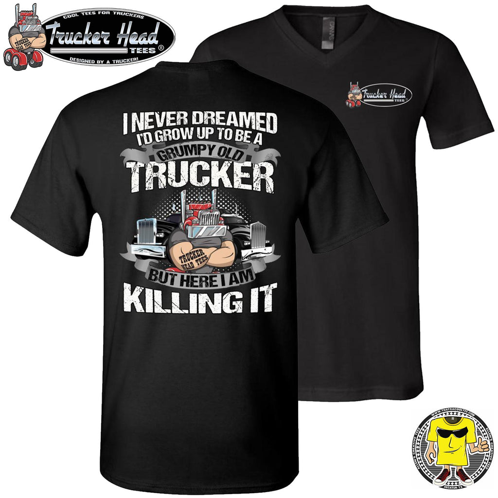 Grumpy Old Trucker Funny Truck T Shirts black v-neck